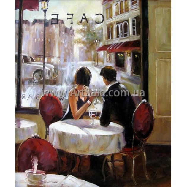 """Купить картину маслом """"Пара в Кафе"""""""