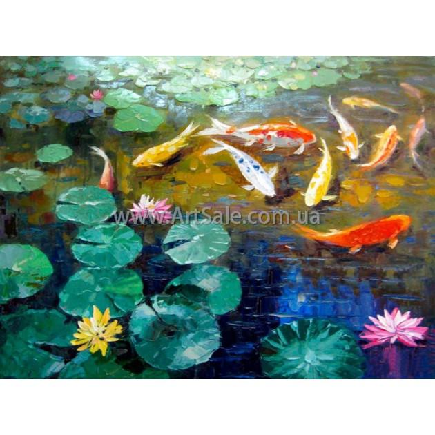 """Купить картину Фен Шуй """"Золотые рыбки в пруду"""""""