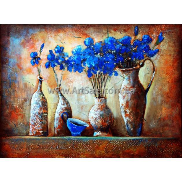 """Купить натюрморт """"Синие цветы в кувшинах"""""""
