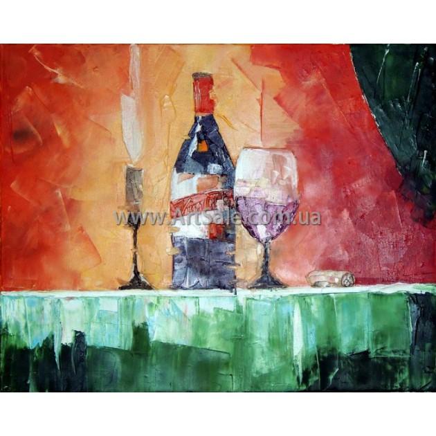 """Купить натюрморт """"Вино и свеча"""""""