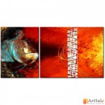 Модульная картина, абстракция оранжевая ART.: KAM0024