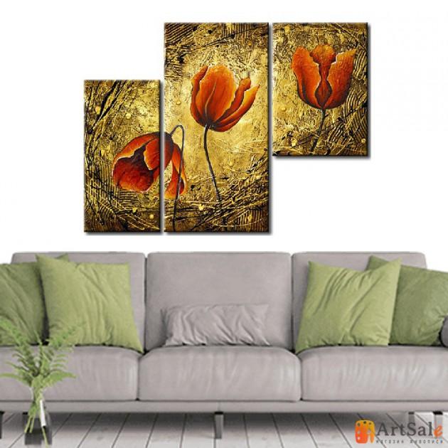 Модульная картина тюльпаны на золотом, ART.: KCC0052