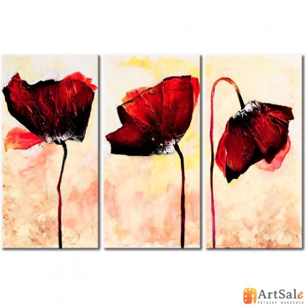 Модульная картина красные маки, ART.: KCC0131
