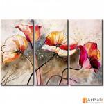 Модульная картина цветы маки, ART.: KCC0135