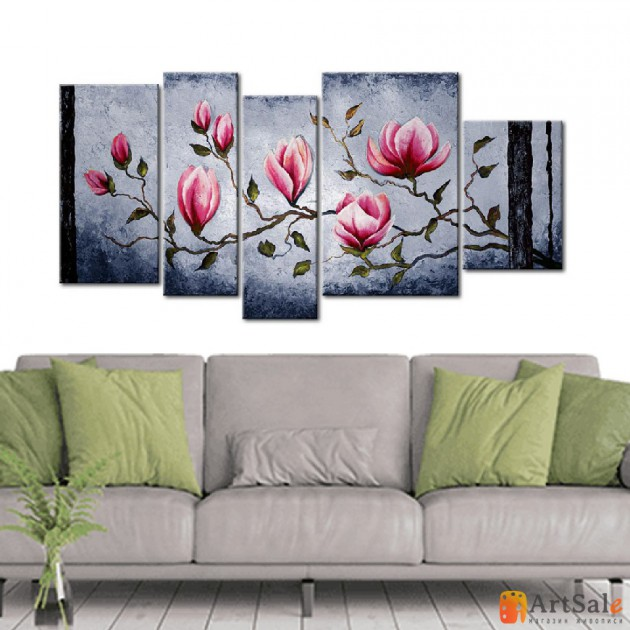 Модульная картина цветы сакуры, ART.: KCC0373