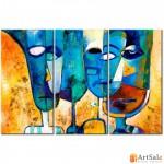 Интерьерные модульные картины, Цветные Лица ART.: KIM0022