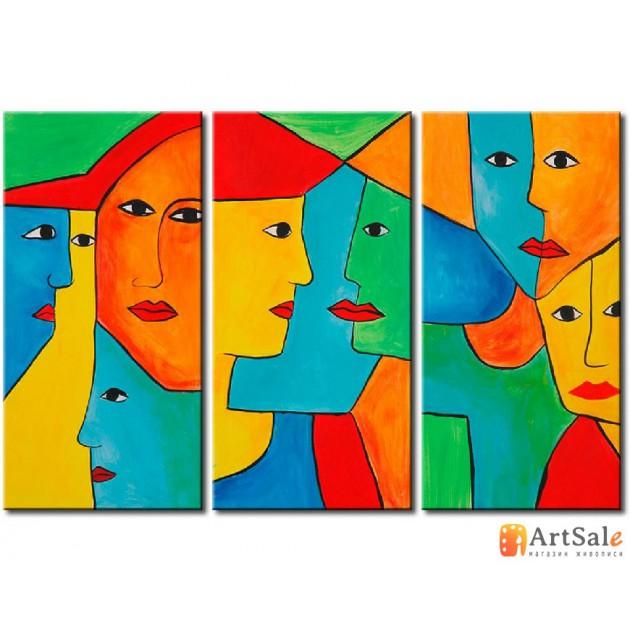 Интерьерные модульные картины, Цветные лица ART.: KIM0155