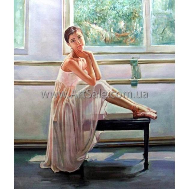 """Картина маслом купить """"Балерина у окна"""""""