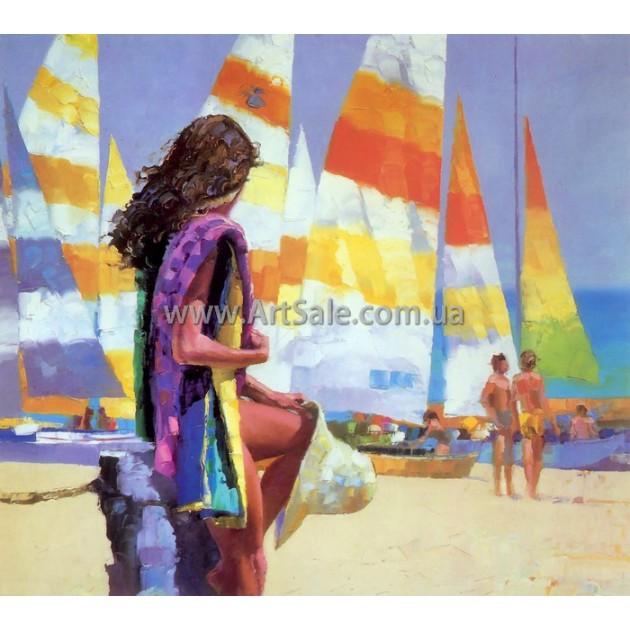 """Картина маслом купить """"Девушка на фоне яхт"""""""