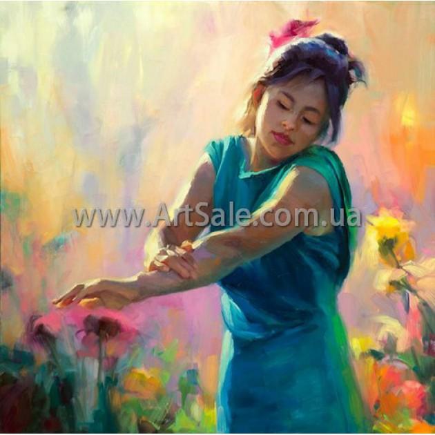 """Картина маслом купить """"Девушка в цветах"""""""
