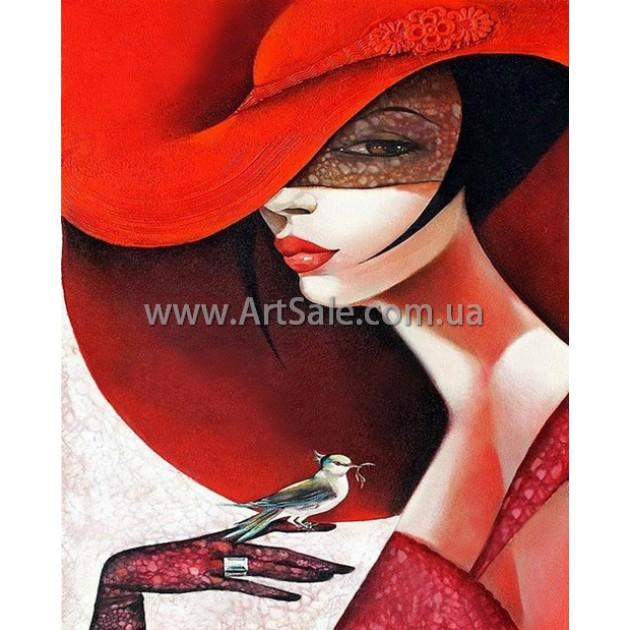 """Картина маслом купить """"Дама в красной шляпе"""""""
